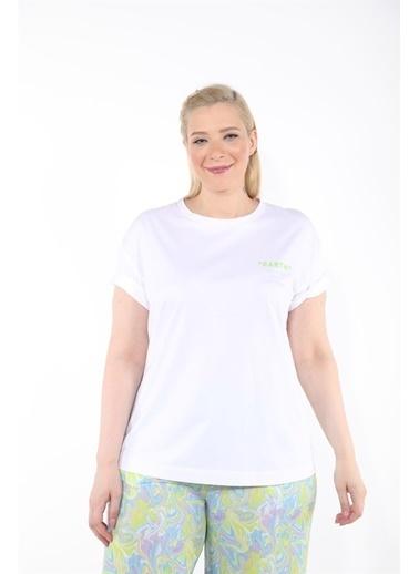 Luokk Muna Düşük Omuzlu Rahat Kesim  Kadın T-Shirt Beyaz Beyaz